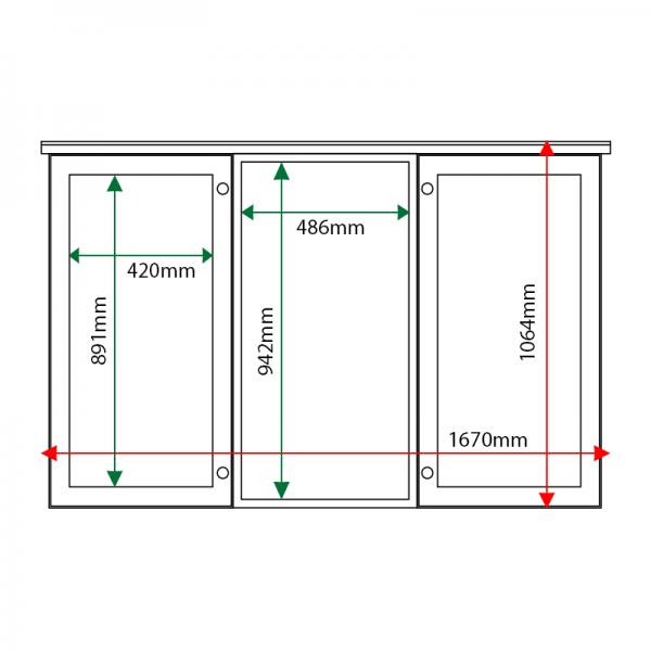 External & internal dimensions of 3-bay, 6 x A4 oak noticeboard, 2-bays glazed