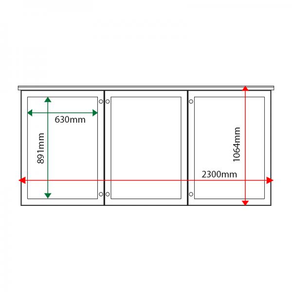 External & internal dimensions of 3-bay, 9 x A4 oak noticeboard