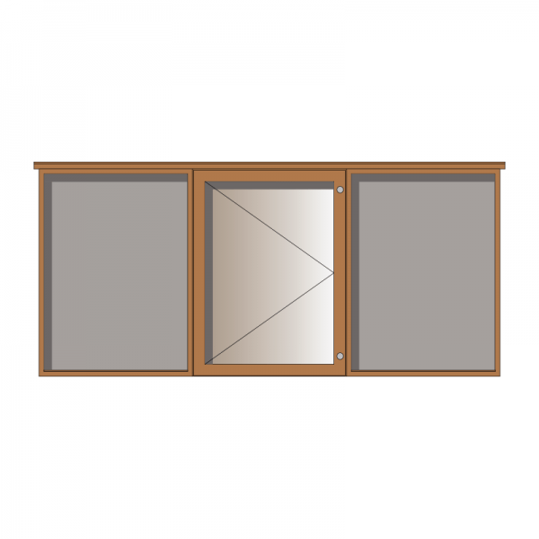 3-bay, 9 x A4 oak noticeboard, 1-bay glazed