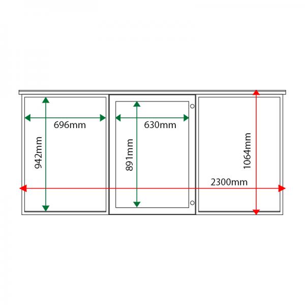 External & internal dimensions of 3-bay, 9 x A4 oak noticeboard, 1-bay glazed