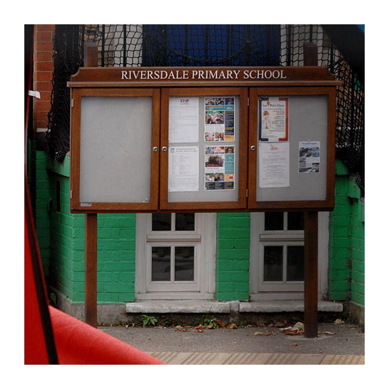 3-bay, 4 x A4 oak noticeboard, post-mounted, Riversdale Primary School, London SW18