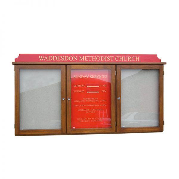 3-bay, 4 x A4 oak noticeboard with coloured header & sign panel, Waddesdon Methodist Church