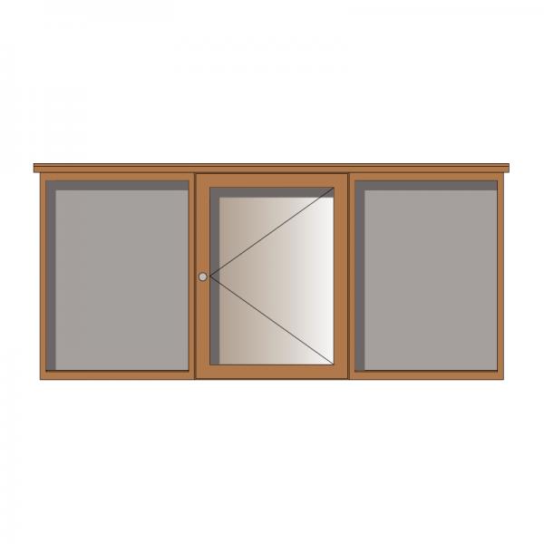 3-bay, 4 x A4 oak noticeboard, 1-bay glazed