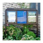 3-bay, 4 x A4 oak noticeboard, 2-bays glazed with sign panel, Holy Trinity Church, Elgin