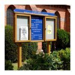 3-bay, 4 x A4 oak noticeboard, 2-bays glazed with sign panel and coloured header, St Luke's Church, Reading