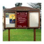 3-bay, 4 x A4 oak noticeboard, 2-bays glazed with central sign panel and radiused header, St Giles Church, Bredon