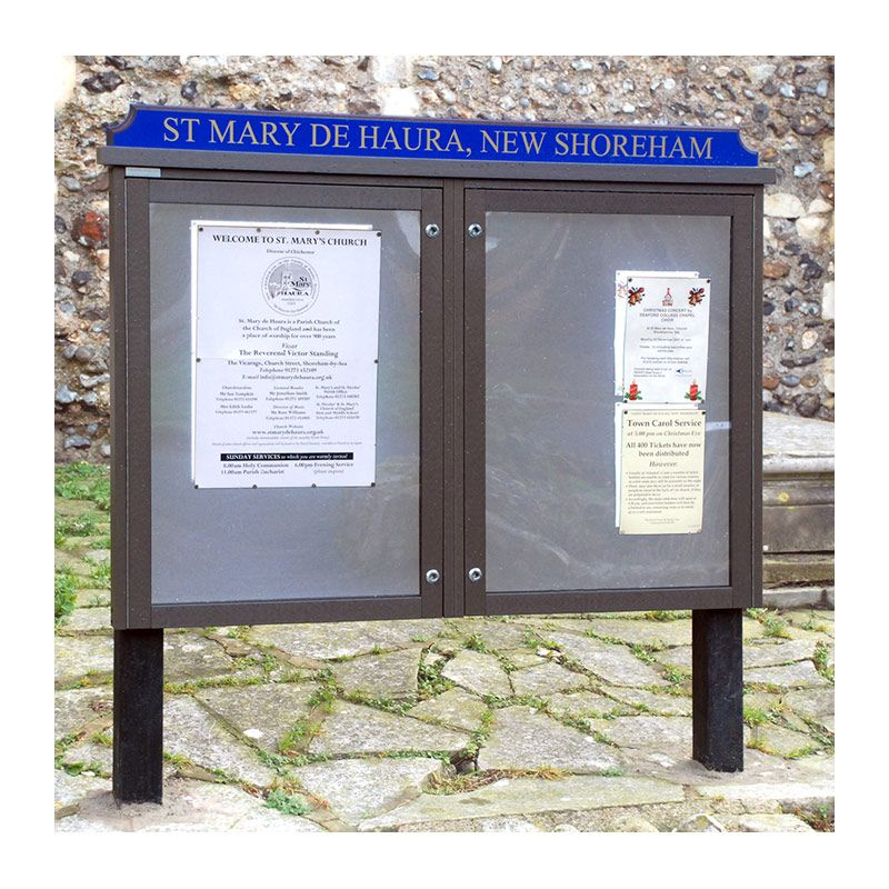 2-bay, 9 x A4 Man-made Timber noticeboard with contrasting coloured header, St Mary de Haura Church, New Shoreham