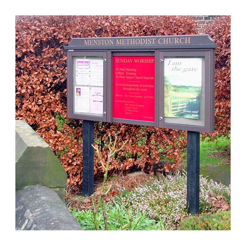 3-bay, 4 x A4 maintanence-free, recycled plastic, church noticeboard with central sign panel for menston methodist Church