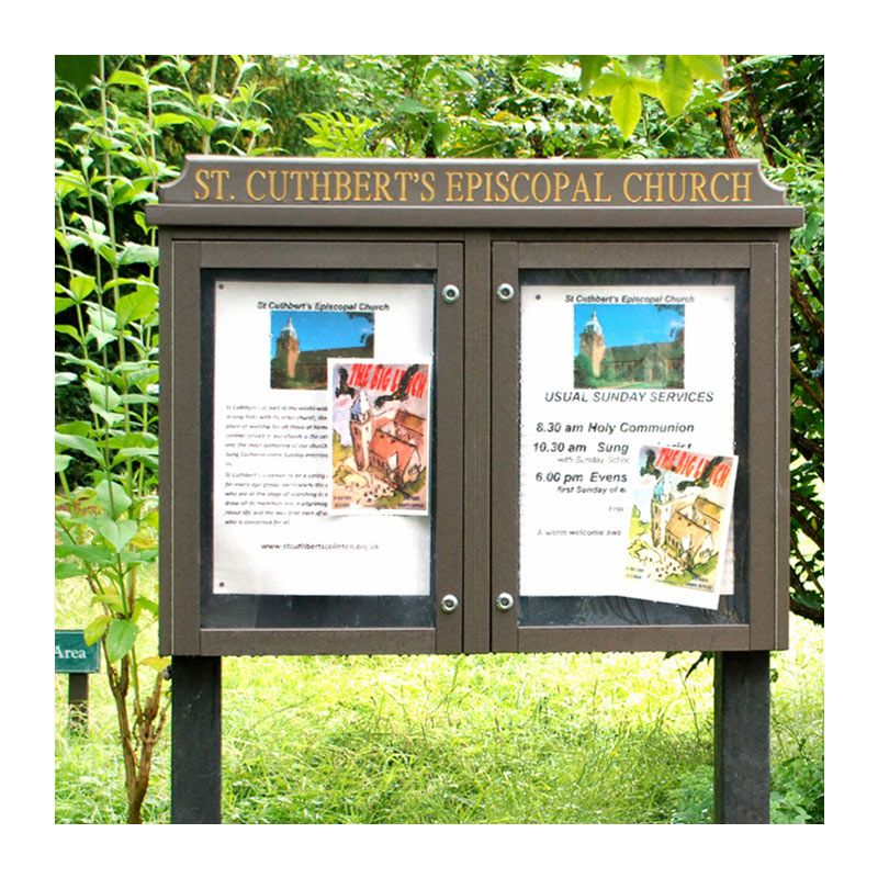 2-bay, 4 x A4 noticeboard in maintenance-free recycled plastic, St Cuthbert's Epscopal Church, Colinton