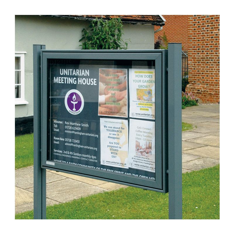 8 x A4 A-Max aluminium noticeboard with a contemporary-looking grey finish for the Unitarian Meeting House, Framlingham
