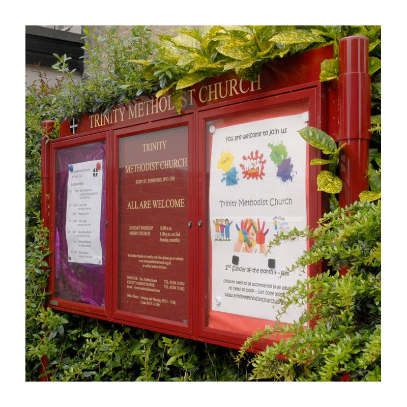 3-bay, A2, A-Multi aluminium noticeboard with Burgundy powder-coated finish, Trinity Methodist Church, Bury St Edmunds