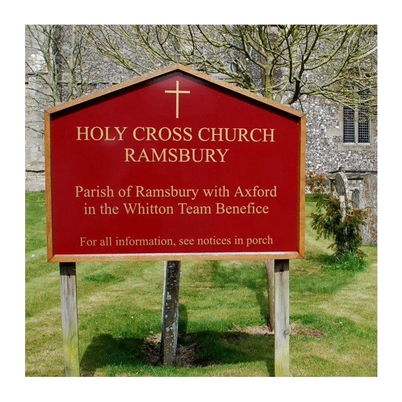 Oak and aluminium church sign for Holy Cross Church, Ramsbury