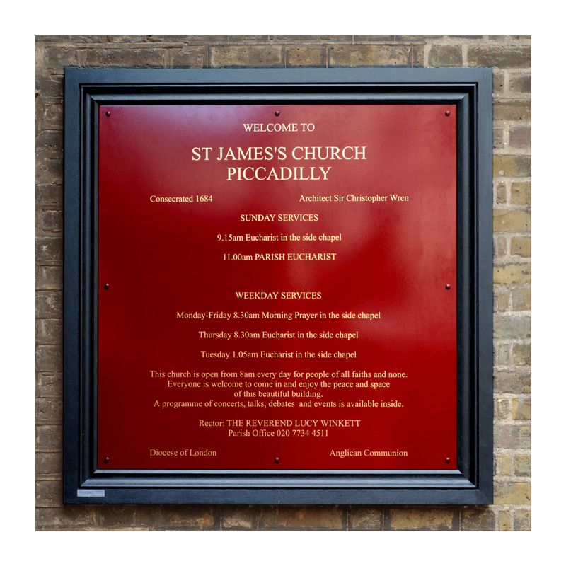 Oak and aluminium church sign for St James's Church, Piccadily