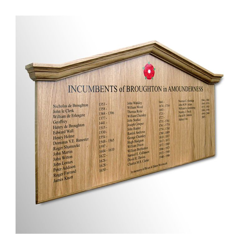 Gable-topped incumbents board in clear-lacquered oak for Broughton in Amounderness Parish Church