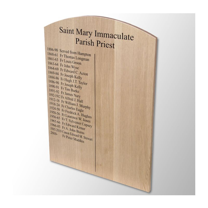 Bow-topped oak Parish Priests board for St Mary Immaculate Church, Warwick