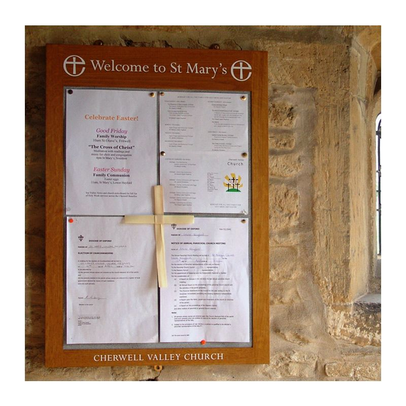 4 x A4, oak-framed, church porch noticeboard fro St Mary's Church, Lower Heyford