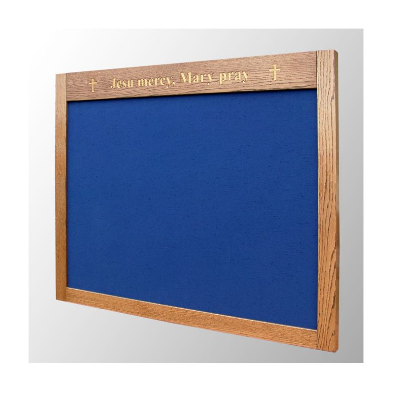 Bespoke, oak-framed prayer board with engraved lettering