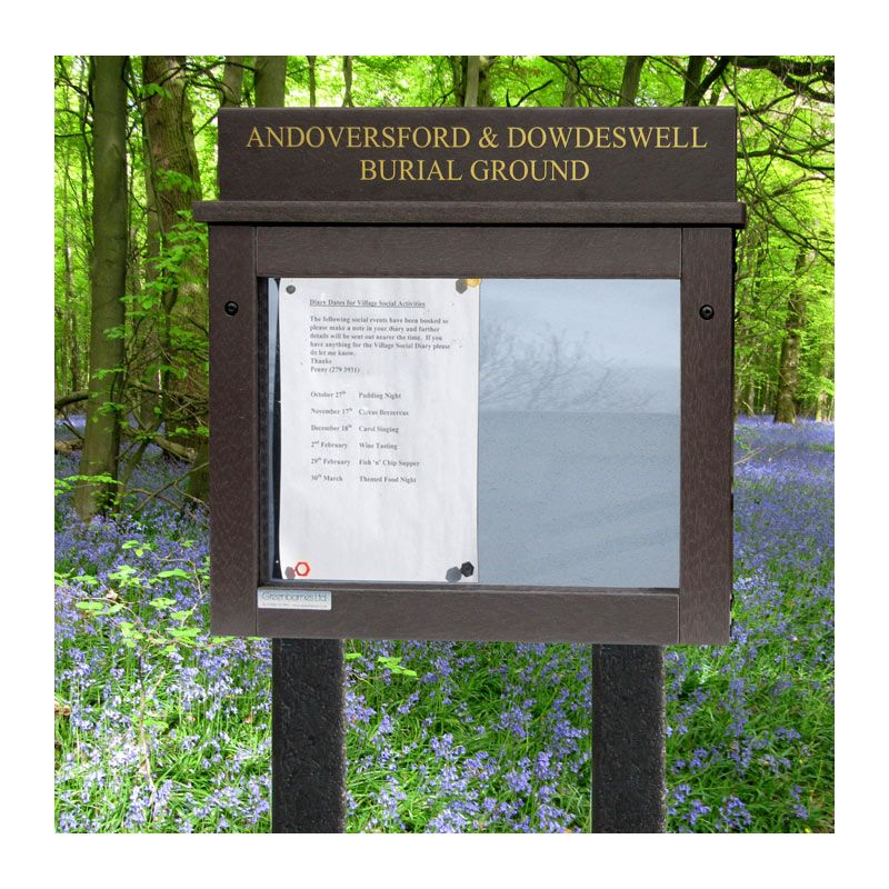 A3 landscape format Smallboard poster case in maintanence-free recycled plastic for Andoversford and Dowdeswell Burial Ground
