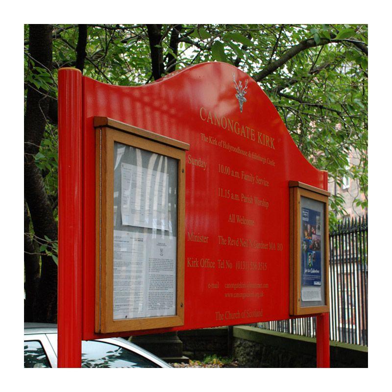 Aluminium sign with oak Smallboard poster cases, Canongate Kirk, Edinburgh
