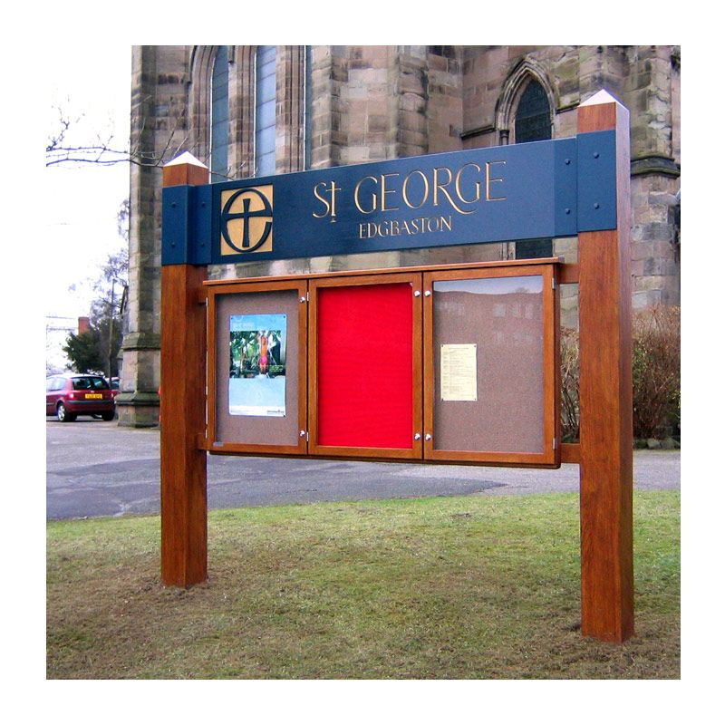 3-bay, 9 x A4 oak noticeboard with bespoke header and posts for St George's Church, Edgbaston