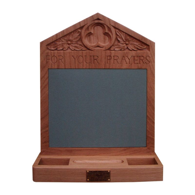 Oak prayer board with self-healing rubber pinboard and trays for cards, pens and pins