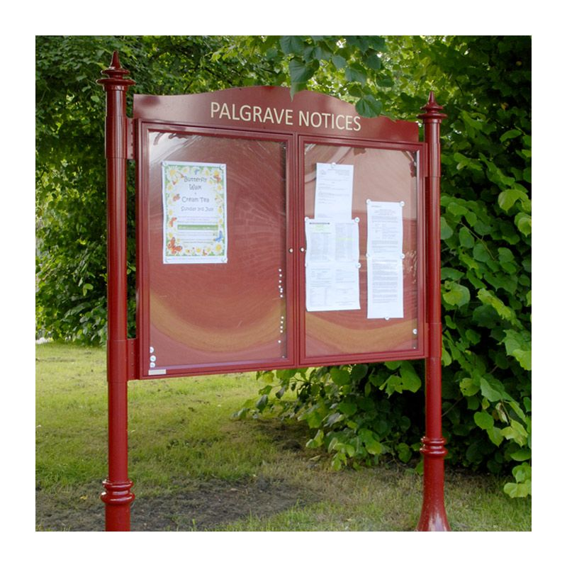 2-bay, A1, A-Multi aluminium noticeboard for Palgrave Parish Council