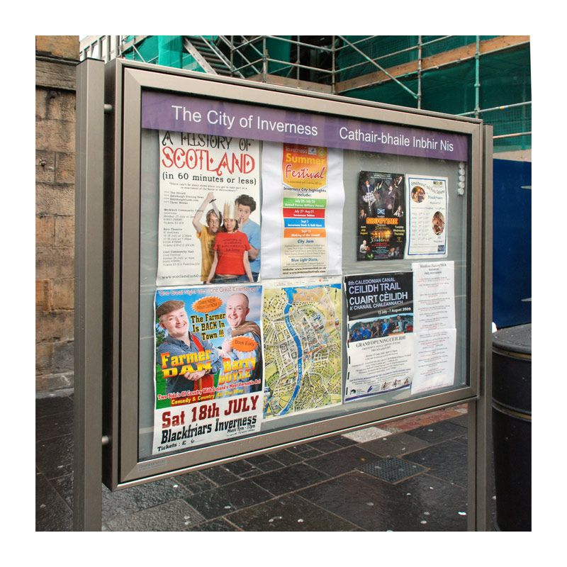Stainless finish A-Max noticeboard for Highland Council, Inverness city centre