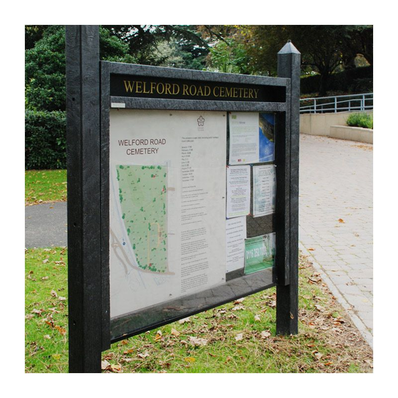 Heavy-duty recycled plastic noticeboard, Welford Road Cemetery, Leicester