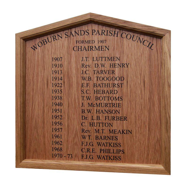gable-shaped parish council honours board in oak