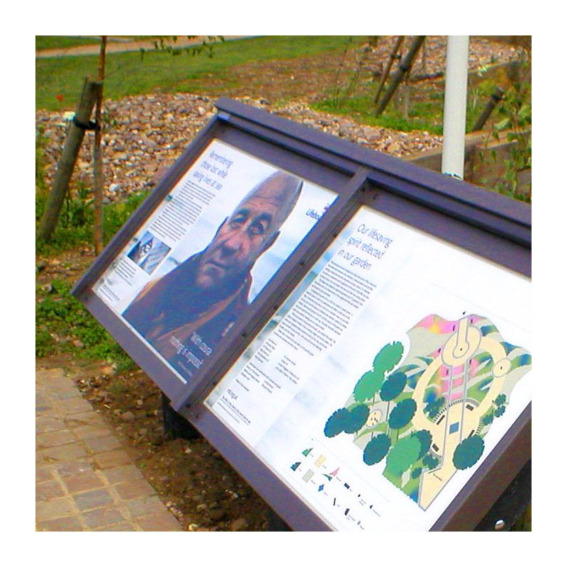 R.N.L.I. interpretation panel in recycled plastic for National Memorial Arboretum, Staffordshire