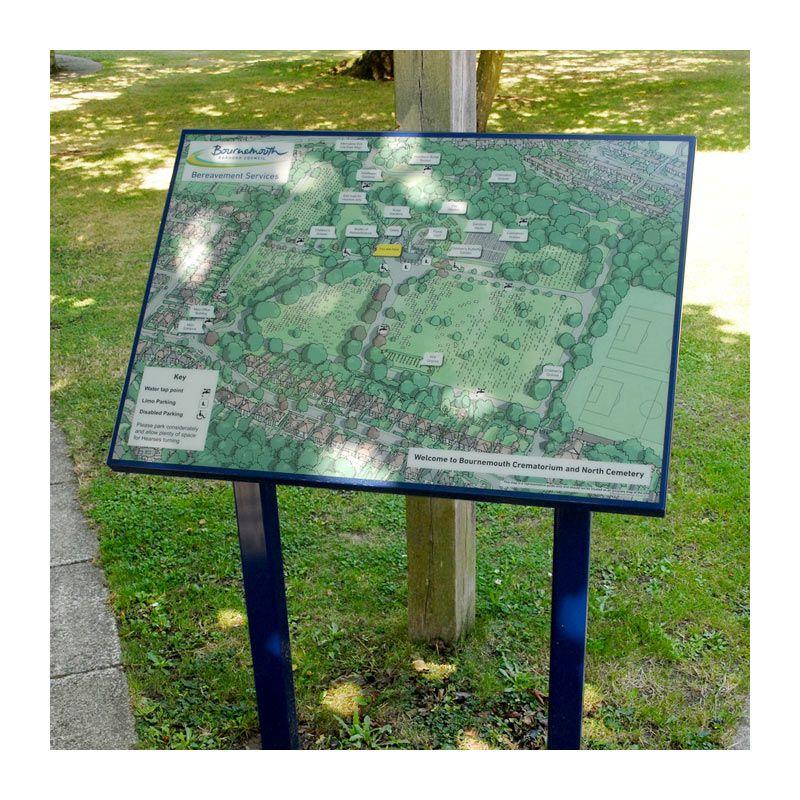G.r.p.-encapsulated information panel, Bournemouth Crematorium