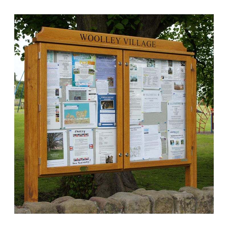 2-bay, 9 x A4, post-mounted, oak noticeboard for Woolley Village Residents Association