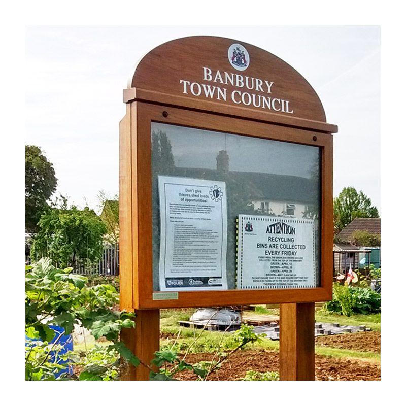 A2 landscape poster case for Banbury Town Council allotments