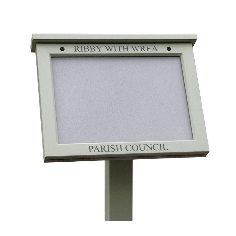Bespoke, lectern-mounted parish council poster case
