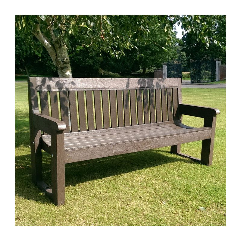 Heavy-duty, recycled plastic park bench