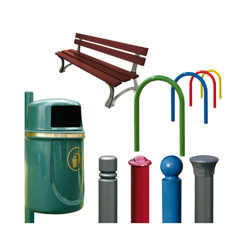 A selection of street furniture including seat, litter bin, bicycle parking hoops and metal bollards