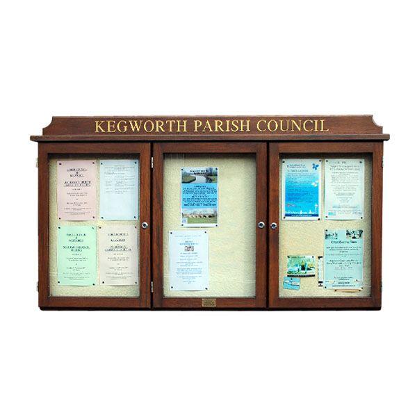 3-bay, 4 x A4 oak noticeboard, wall-mounted with dark oak finish