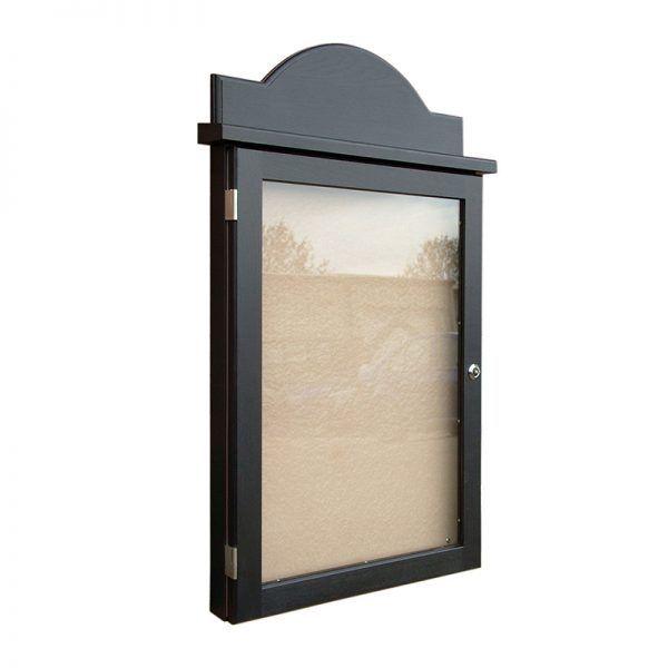 4 x A4 oak noticeboard, radiused header and black wodstain finish.