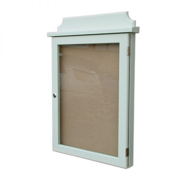 4 x A4 oak noticeboard; example of opaque woodstain light green finish