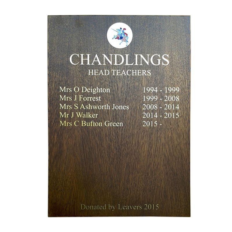 Honours boards for schools: A simple, solid oak, Head Teachers board for Chandlings School