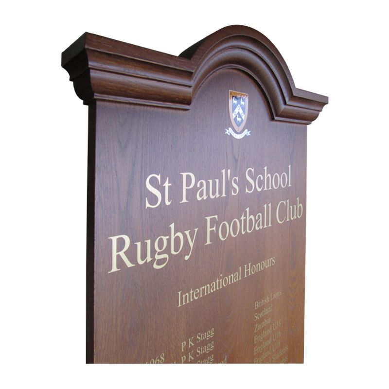 Honours boards for schools: Curved-top honours board for St Paul's School Rugby Football Club