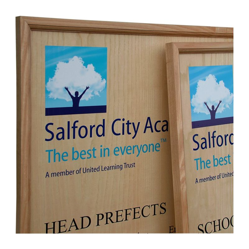 Honours boards for schools: A pair of contemporary honours boards in clear-lacquered oak for Salford City Academy