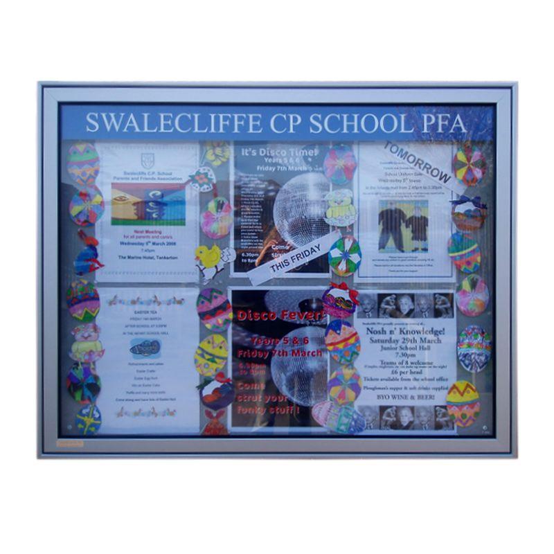 Externa; school noticeboards: P.T.A. noticeboard in silver anodised aluminium, Swalecliffe School