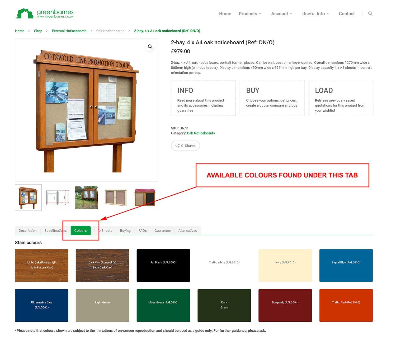 Screenshot Product Colour Tab