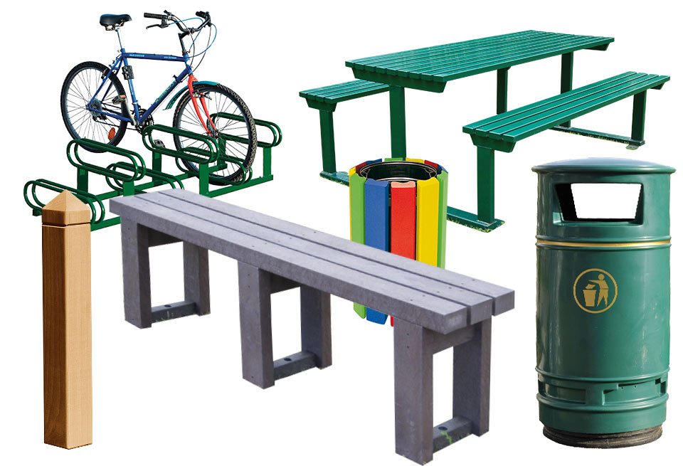 Montage of street furniture items including recycled plastic bench, steel picnic bench, litter bins and bicycle parking